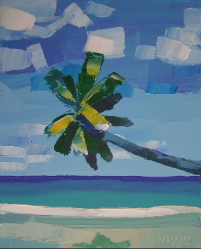 Ocean with palm
